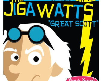"Doc Brown & The Jigawatts Album Cover - Original Artwork - 8.5"" x 8.5"" Back To The Future Print"