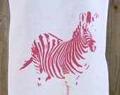Zebra in Pink - 100% Linen Tea Towel