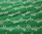 Wave One on Green - Hand screen printed fabric