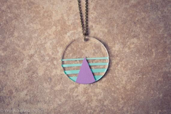 Neon Pastel Geometric Lasercut Plexiglass Pendant Necklace