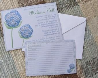 Hydrangea Wedding or Bridal Shower invitation
