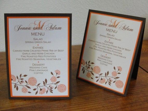 Wedding Table Menus tented