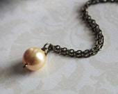 Gorgeous Swarovski Crystal Gold Pearl Pendant Wire Wrapped on Antique Brass Chain