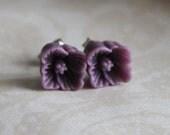 Flower Earring Studs - Dark Plum - Petite Sakura Blossom