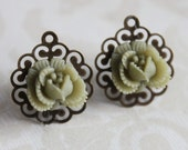 Rose Earring Studs - Light Fern Green - Antique Brass Filigree Post - Ruffled Rose Style