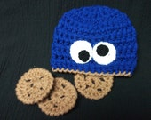 NEW Cookie Monster Hat with Chocolate Chip Cookies