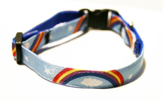 LAST ONE: Vintage Ribbon Breakaway Cat Collar - Retro Rainbows with Clouds and Stars on Blue Sky