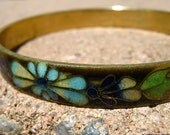 Vintage cloisonne bangle, enamel bracelet, floral design