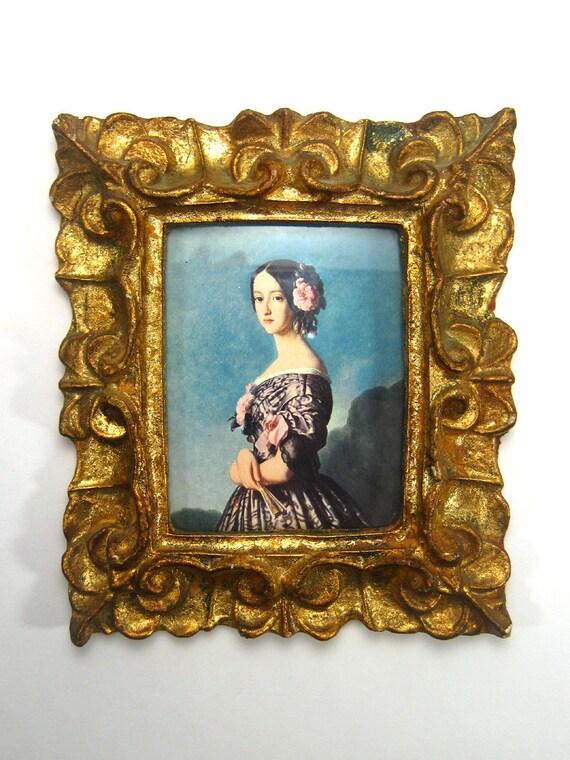Vintage Framed Art Victorian Ornate Gold Tone Frame Lady