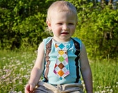 Turquoise and Chocolate Brown Argyle Tie Boy Onesie or Shirt with Suspenders- Size nb to 12 years - PICK YOUR OWN