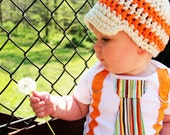 Get The Set - Orange and White Striped Tie Onesie or Shirt with Suspenders and Visor Crocheted Hat - Size NB to 12 years