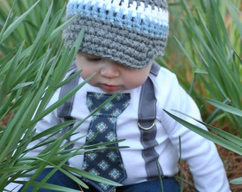 Baby Boy Tie Bodysuit or Shirt with Suspenders and Crocheted Hat Get The Set - Blue and Grey - Size NB to 12 YRS - or pick your own colors