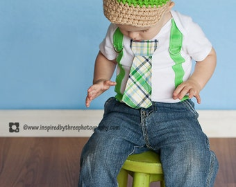 Baby Boy, Green Plaid Boy Tie Bodysuit or Shirt with Suspenders - or PICK YOUR OWN
