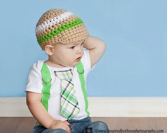Green Plaid Boy Tie bodysuit or Shirt with Suspenders and Crocheted Hat - or PICK YOUR OWN