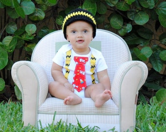 Charlie Brown Snoopy Boys Tie Bodysuit or Shirt with Suspenders and Crocheted Hat - Birthday, Photo Prop