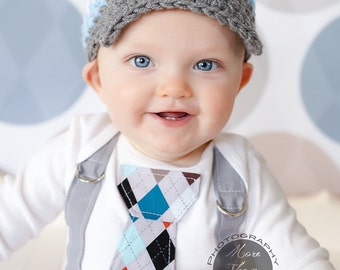 GET THE SET Blue Baby Boy Tie Bodysuit or Shirt with Suspenders and Crocheted Hat -Pick your own