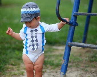 Baby Boy Tie Bodysuit or Shirt with Suspenders and crocheted hat, Get the Set - Lil' Rebel Blue, White and Grey Argyle