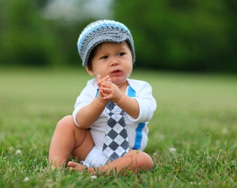 Baby Boy Tie Bodysuit or Shirt with Suspenders, Lil' Rebel Blue, White and Grey Argyle  - Birthday, Photo Prop