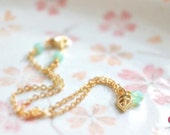 Gold Anklet - Petite Leaf and Seafoam Czech Bead