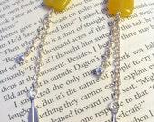 Delicate jade chain earrings