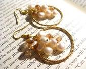 Gold loop, crystal and freshwater pearl earrings