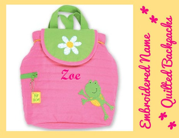 PeRSONALIZED STePHEN JoSEPH GiFTS Hip Hop FROGGY FROG DAiSY FLoWER Quilted Bag FrEE Name Toddler Girl Pink Diaperbag by HiDucky.com