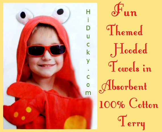 "Childrens Hooded Towel ""CRABBY CRAB"" Include Embroidery of Name Cotton Towel Boy Girl Toddler Beach Towel Bath Towel Lobster Crab Baby Towel"