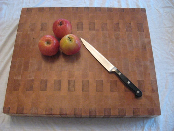 Maple Butcher Block - Large Chunky Cutting Board - Counter Top Functional Art with Geometric Pattern