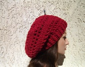 Free Shipping on second item Hand crocheted Burgundy ribbed slouchy beanie beret tam winter spring summer fashion