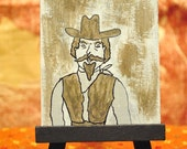 Old West Cowboy Portrait Original Miniature Painting