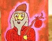 Glowing Hobo Man Original ACEO Art Card Painting