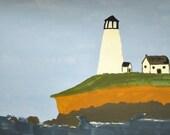Lighthouse Folk Art Scene Original Painting