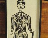 Charlie Chaplin Little Tramp Wood Folk Art Original Painting