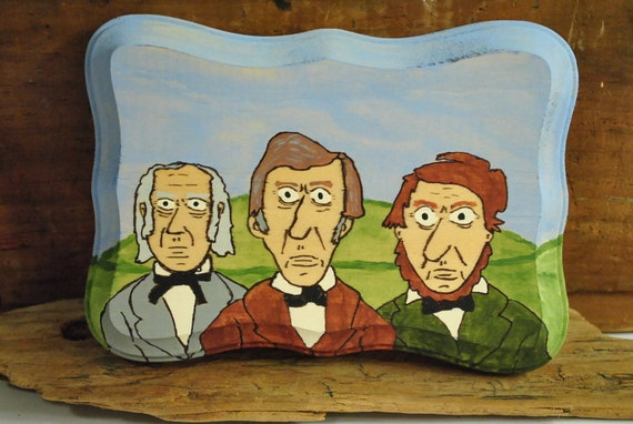 Henry David Thoreau, Ralph Waldo Emerson, Amos Bronson Alcott, Original Painting on Wood