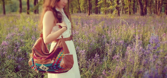 Brown Leather and Pendleton purse, The Buena Vista Social Bag