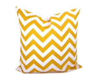 Decorative throw Pillow Cover Yellow Pillow Chevron Pillow ONE 16x16 Pillows Accent Pillow Printed fabric both sides Toss pillow cover