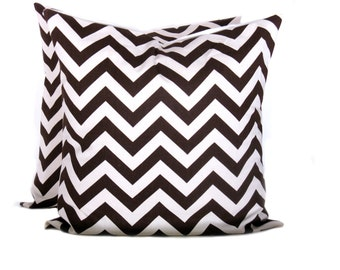 Decorative Throw Pillows. brown chevron pillow. 20x20 pillow covers.printed fabric on front and back