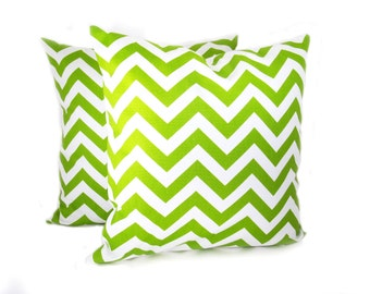 Decorative Pillows Green and White Chevron ZigZag Set of Two 20x20 Pillow Covers