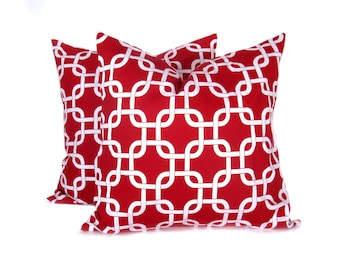 Pillow.Red16x16 inch.Decorator Pillow Cover.Printed Fabric both sides..Red and White Chain.Cushion.Housewares.Home Decor