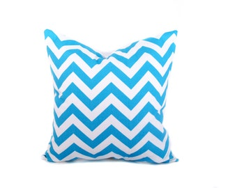 Blue Chevron Pillow.Light Blue Pillow.Blue and White.16x16inch.ZigZag.Decorator Pillow Cover.Cushion Cover.Printed Fabric Both sides
