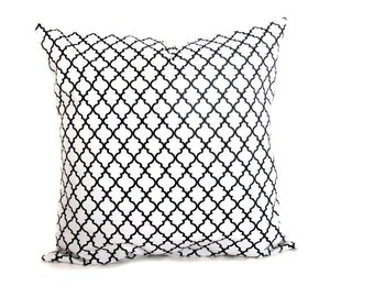 Decorative Pillow Black and White Lattice Print Pillow Cover ONE 24x24 Euro Sized Pillow Sham with Same Printed Fabric on Front and Back