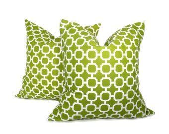 Throw Pillow Covers 18x18 inch. Housewares.Printed Fabric on Front and Back. Green Pillow. Lattice Pillow.Decorative Throw Pillows