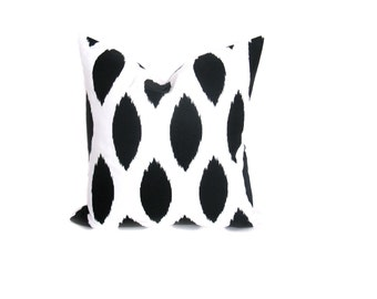 Ikat Pillow Cover ONE 16X16 Pillow Cover.Black and White.Spots.Housewares.Home Decor.Cushion Covers.Printed Fabric both sides