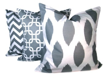 Ikat Pillow. Throw Pillow Covers .20x20 inch. Grey Pillow. Chevron Pillow. Gray Pillow covers. Printed fabric both sides. Cushion Covers.
