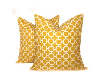 Yellow Pillow Decorative Throw Pillows 20 x 20 Pillow Cover Set of TWO Outdoor Pillow Mustard Yellow Pillow Printed fabric both sides