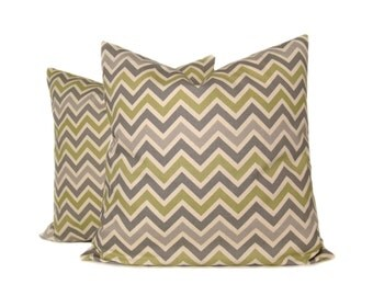 Throw Pillow Covers 18x18 inch. Gray Pillows. Decorator Pillow. Accent Pillow Covers.Printed Fabric on Front and Back Chevron Pillows
