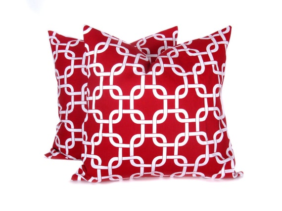 Red Throw Pillows Etsy : RED PILLOW Decorative Pillow covers Red Chain. Lattice.