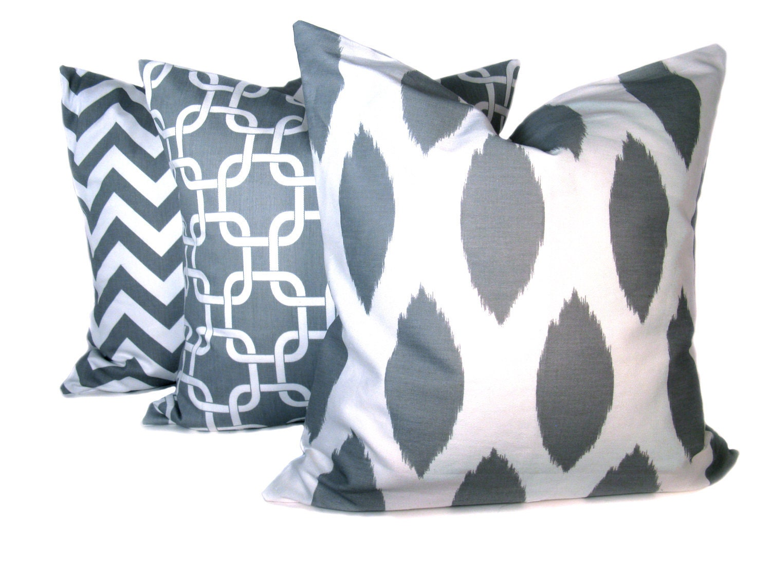 20x20 Throw Pillows Covers : Ikat Pillow. Throw Pillow Covers .20x20 inch. Grey by EastAndNest