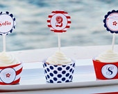 Red, White & Blue Collection Printable Cupcake Wrappers