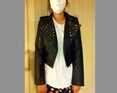 Faux leather studded jacket WITH SHOULDER SPIKES